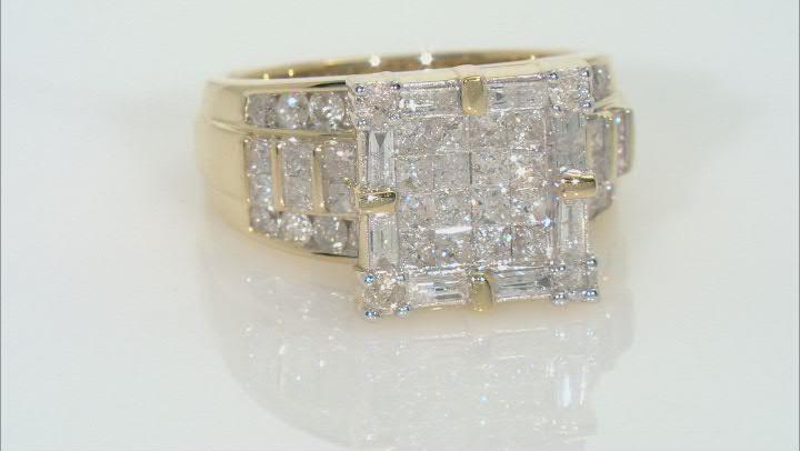 White Diamond 10k Yellow Gold Quad Ring 2.25ctw