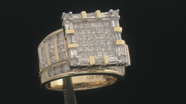 White Diamond 14k Yellow Gold Quad Ring 3.00ctw