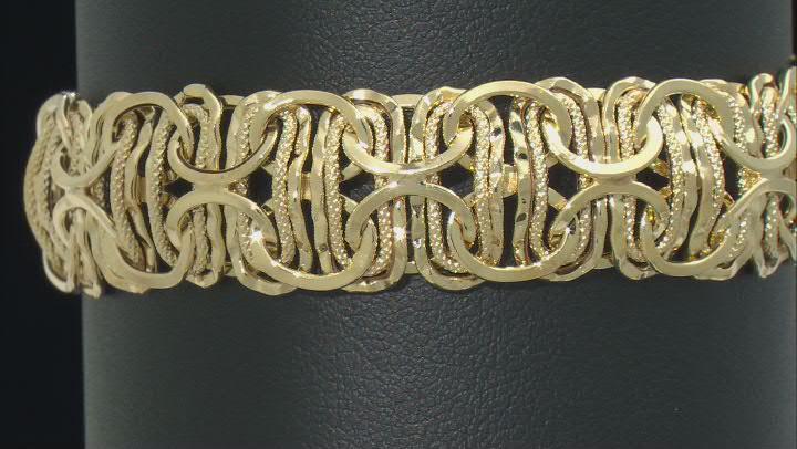 14k Yellow Gold Hollow Byzantine Link Bracelet 7 inch