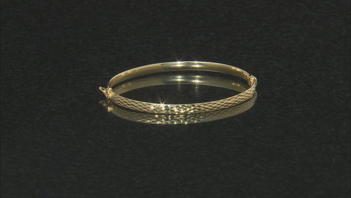 Splendido Oro™ Divino 14K Yellow Gold With Sterling Silver Core Diamond Cut Bangle Bracelet