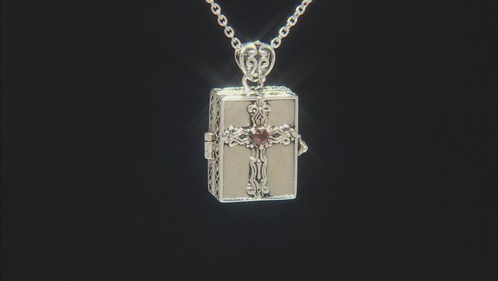 Red Garnet Rhodium Over Silver Prayer Box Pendant with Chain .37ct
