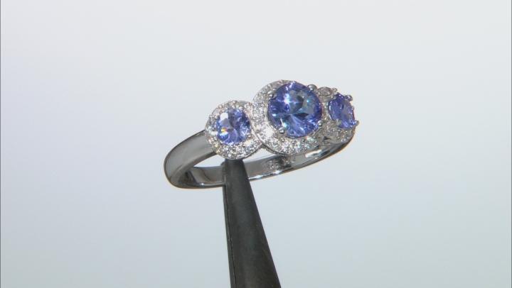 Blue Tanzanite Rhodium Over Silver Ring 1.73ctw
