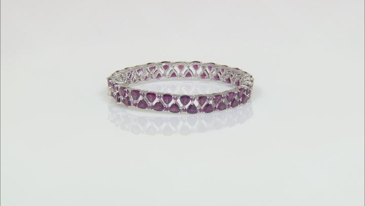 Purple Raspberry Color Rhodolite Rhodium Over Silver Bracelet 21.71ctw
