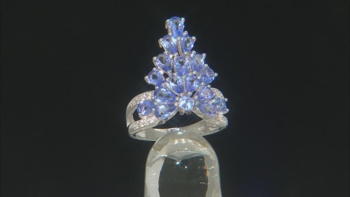 Blue tanzanite rhodium over silver ring 2.99ctw