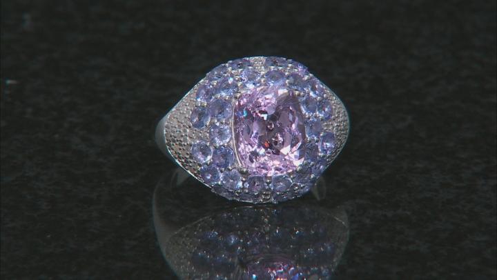 Pink Kunzite Rhodium Oder Sterling Silver ring 4.54ctw