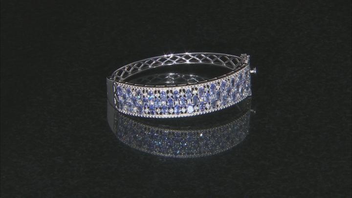 Blue Tanzanite Rhodium Over Silver Bracelet 8.37ctw