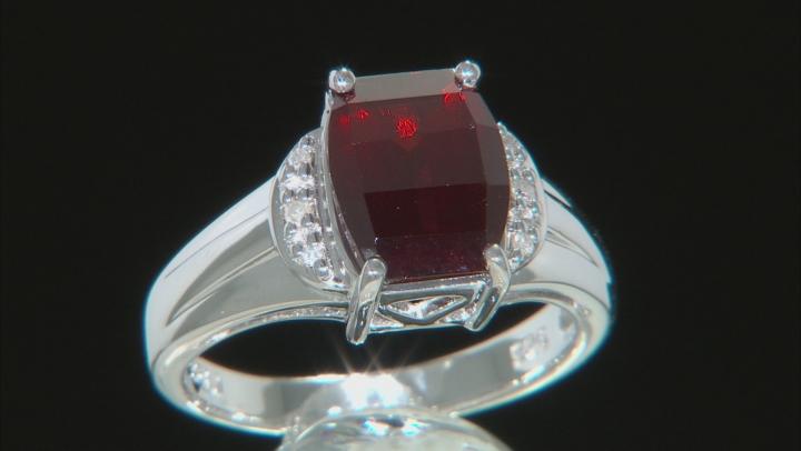 Red garnet rhodium over sterling silver ring 3.86ctw