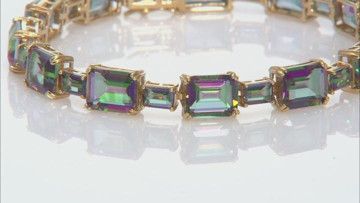 Multi-color quartz 18k yellow gold over silver bracelet 34.32ctw