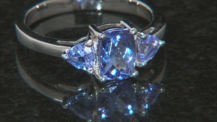 Blue Tanzanite Rhodium Over Sterling Silver 3-Stone Ring 1.18ctw