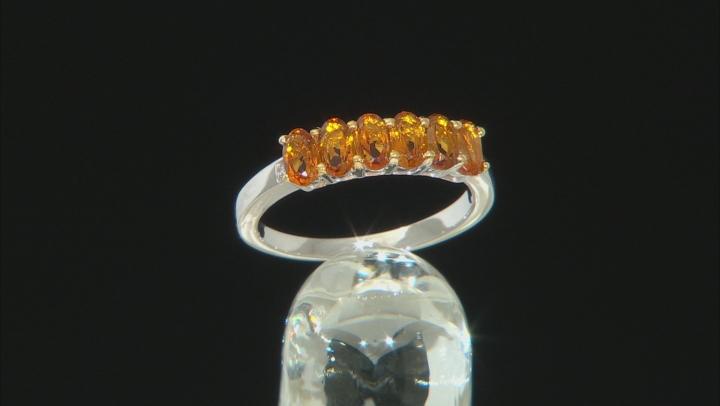 Orange madeira citrine rhodium over silver band ring 1.13ctw