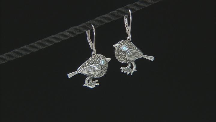 Swiss blue topaz oxidized sterling silver bird dangle earrings .02ctw