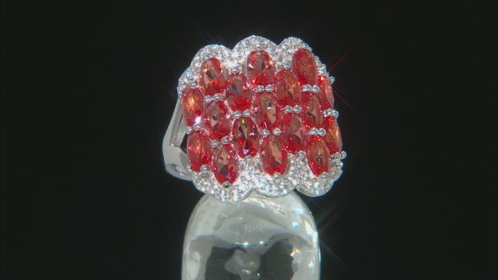 Orange Lab Created Padpardscha Sapphire Rhodium Over Silver Ring 4.41ctw
