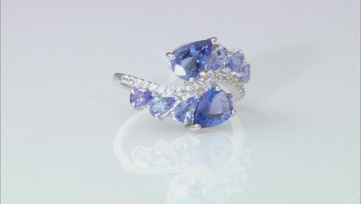 Blue Tanzanite Rhodium Over Silver Ring 3.53ctw