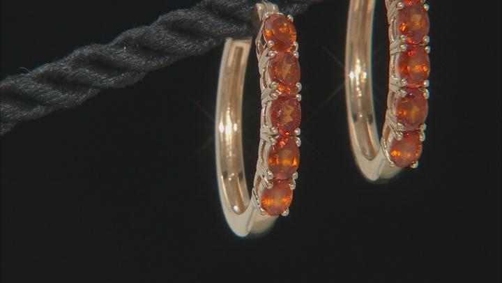 Red garnet 18k yellow gold over silver hoop earrings 1.96ctw
