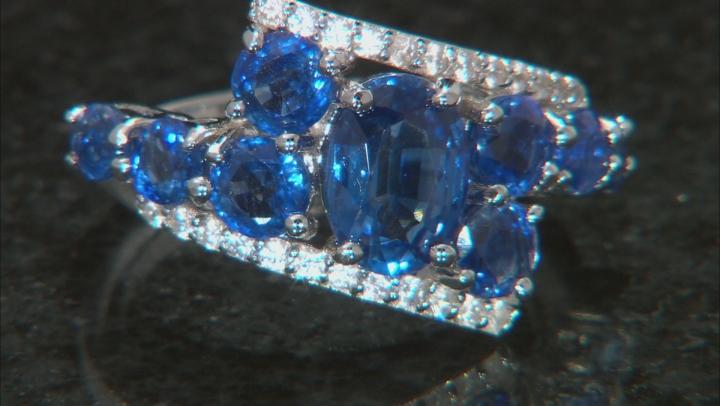 Blue Kyanite Rhodium Over Silver Ring 3.49ctw