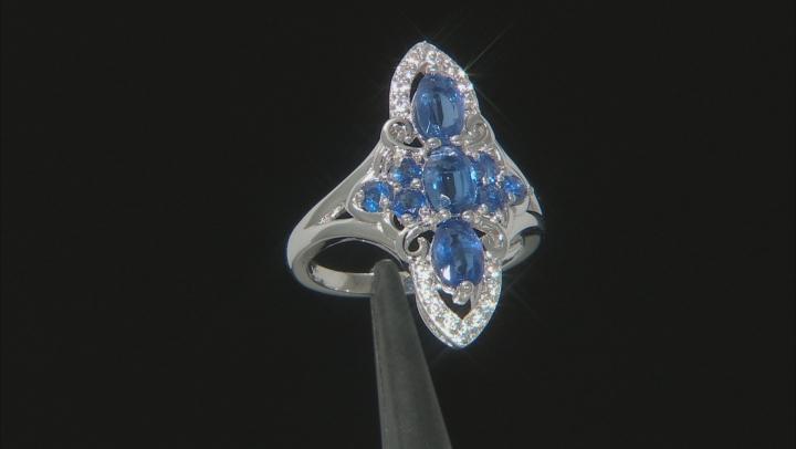 Blue Kyanite Rhodium Over Silver Ring 1.75ctw