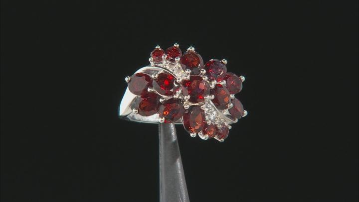 Red Garnet Rhodium Over Sterling Silver Ring 4.82ctw