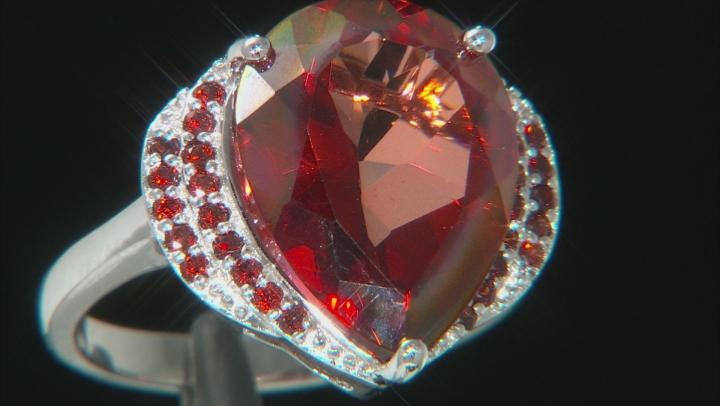 Red Labradorite Rhodium Over Silver Ring 6.74ctw