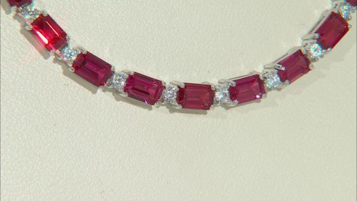 Orange padparadscha sapphire rhodium over silver necklace 36.47ctw