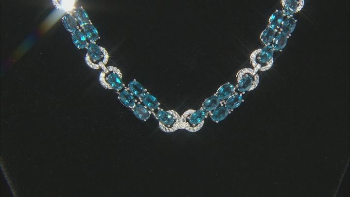 London blue topaz rhodium over silver necklace 48.55ctw