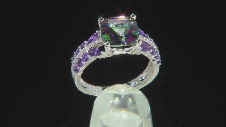 Green Mystic Fire(R) Topaz Rhodium Over Silver Ring 4.29ctw