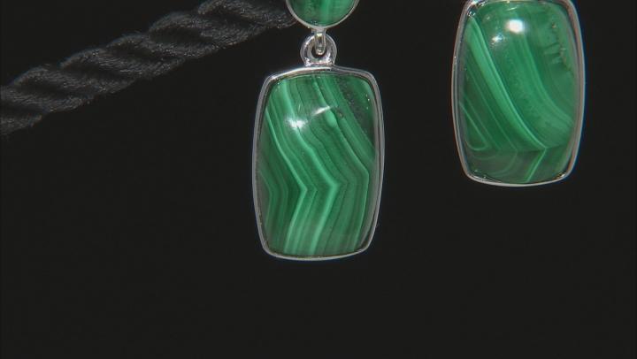 Green malachite rhodium over sterling silver dangle earrings