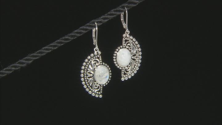 White Rainbow Moonstone Sterling Silver Dangle Earrings