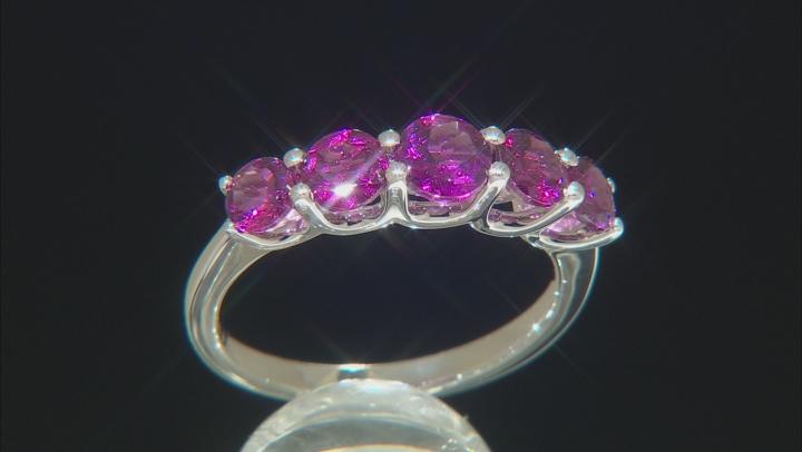 Purple Rhodolite Rhodium Over Sterling Silver band ring 2.01ctw
