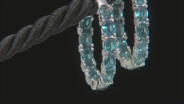 Teal Chrome Kyanite Rhodium Over Silver Inside/Outside Hoop Earrings 3.40ctw