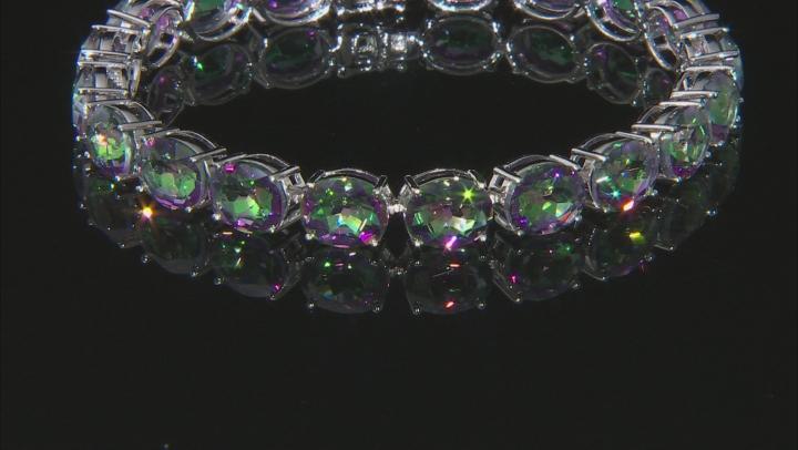 Multi-color Quartz Rhodium Over Sterling Silver Bracelet 35.11ctw