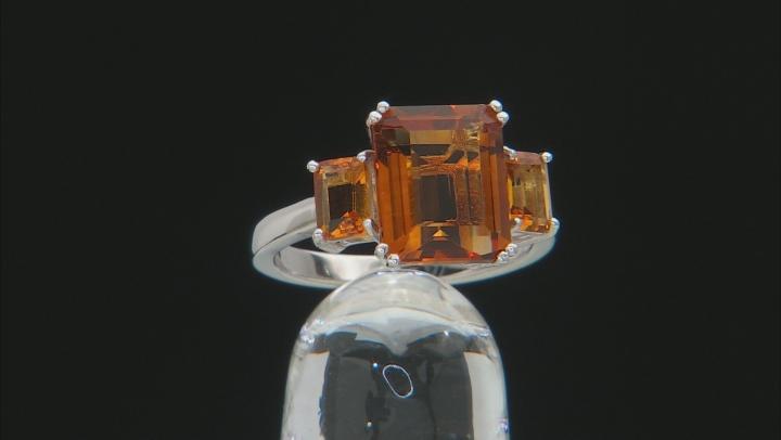 Orange Madeira Citrine Rhodium Over Silver Ring 4.68ctw