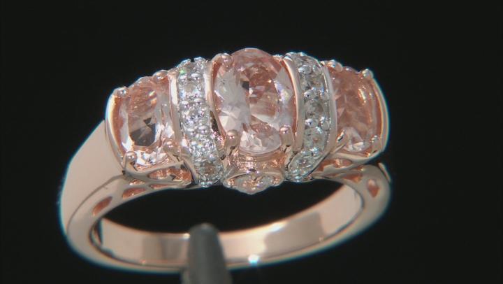 Pink morganite 18k rose gold over silver ring 1.63ctw