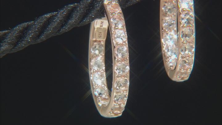 Pink morganite 18k rose gold over silver inside/outside hoop earrings