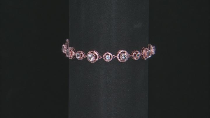 Pink morganite 18k rose gold over silver bracelet 4.67ctw