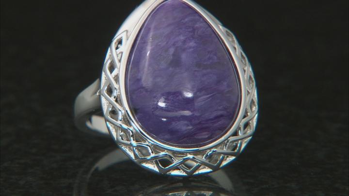Purple Charoite Rhodium Over Silver Ring