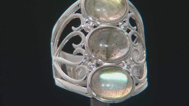 Gray Labradorite Rhodium Over Sterling Silver 3-Stone ring
