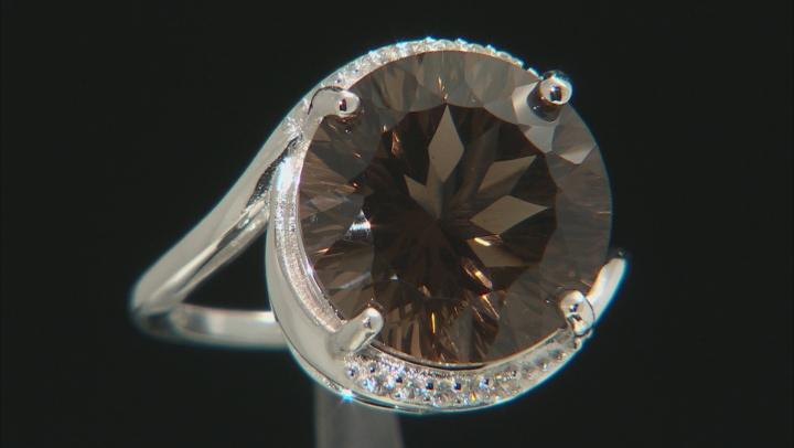 Brown Smoky Quartz Rhodium Over Silver Ring 8.98ctw