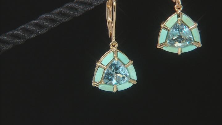 Sky Blue Topaz 18k Yellow Gold Over Sterling Silver Earrings 4.00ctw