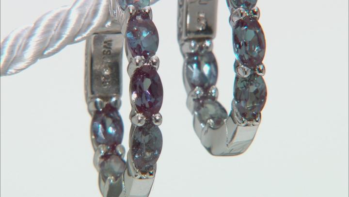 Blue lab created alexandrite rhodium over silver inside/outside hoop earrings 2.44ctw