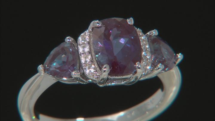 Blue Lab Created Alexandrite Rhodium Over Silver Ring 2.76ctw