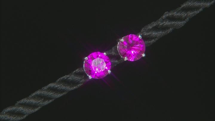 Orange Lab Created Padparadscha Sapphire Rhodium Over Silver Earrings 8.67ctw