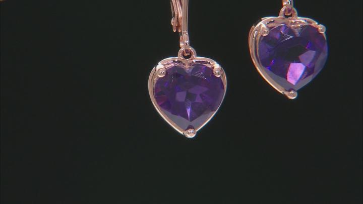 Purple amethyst 18k rose gold over silver dangle earrings 3.16ctw