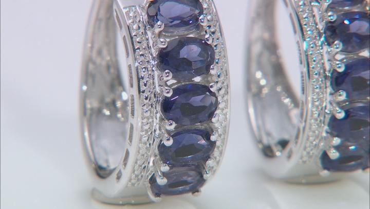 Purple Iolite Rhodium Over Sterling Silver Hoop 5- Stone Earrings 3.98ctw