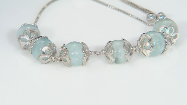 Blue Aquamarine Rhodium Over Sterling Silver Bolo Bracelet