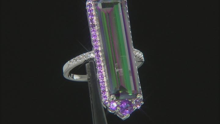 Multicolor Quartz Rhodium Over Sterling Silver Ring 10.39ctw