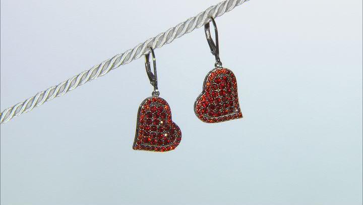 Vermelho Garnet™ Rhodium Over Sterling Silver Heart Earrings 2.72ctw
