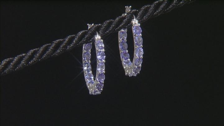 Blue Tanzanite Rhodium Over Sterling Silver Hoop Earrings 3.60ctw
