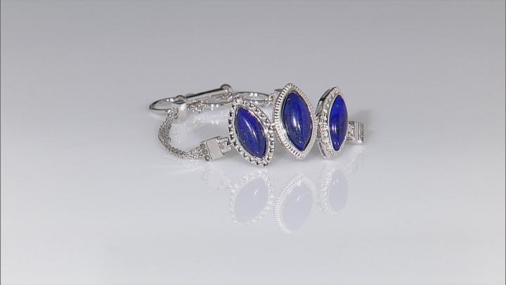 Blue Lapis Lazuli Sterling Silver Adjustable Bracelet