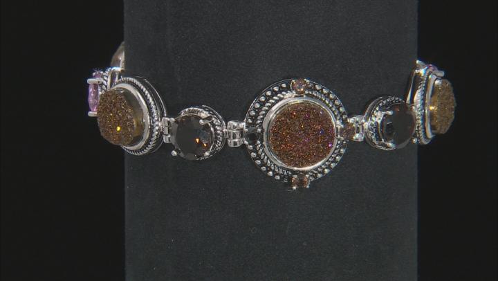 Orange Drusy Quartz Sterling Silver Bracelet 8.84ctw