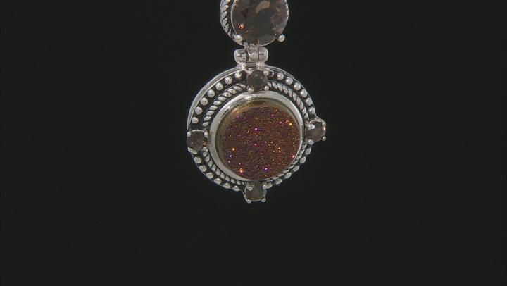 Orange Drusy Quartz Sterling Silver Pendant With Chain 3.75ctw
